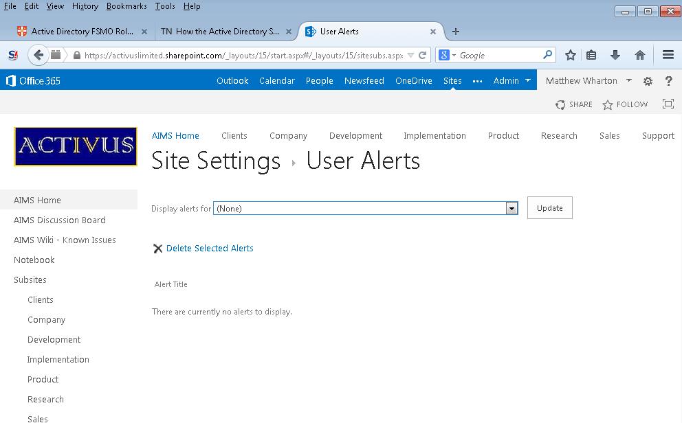 How do I see who has set up an alert in SharePoint? - Matt
