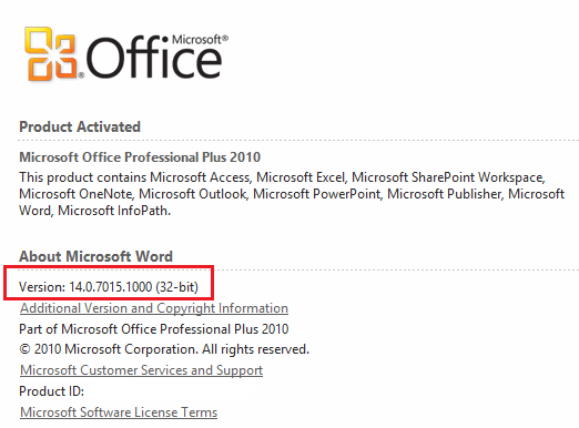 office 2010 version number