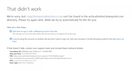 Sharepoint Online login failure