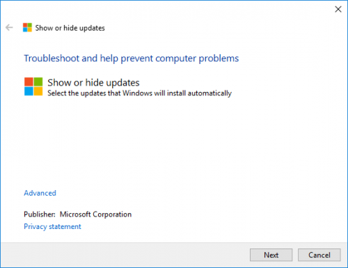 Troubleshoot. Show or hide Windows update