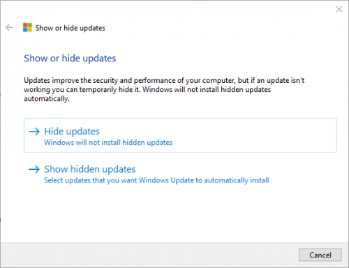 Show or Hide Windows update